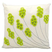 Mina Victory Felt Flowers 20-Inch Square Outdoor Pillow in Green