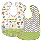 kushies® Cleanbib Size 6-12M 2-Pack Little Safari Bib Set in White