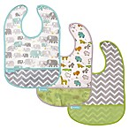 Kushies® Cleanbib Size 6-12M 3-Pack Safari Bibs in White