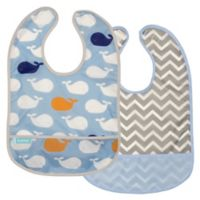 kushies® Cleanbib Size 12M 2-Pack Whales Bib Set in Blue