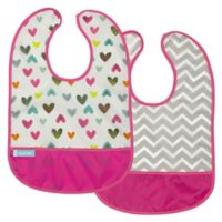 kushies® Cleanbib Size 12M 2-Pack Hearts Bib Set in White