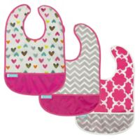 Kushies® Cleanbib Size 12-36M 3-Pack Doodle Hearts Bibs in White