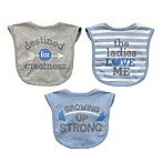 Neat Solutions Aspirational 3-Piece Heather Bib Set in Grey/Blue