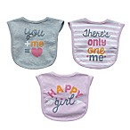 Neat Solutions Aspirational 3-Piece Heather Bib Set in Grey/Pink