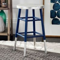Safavieh Kenzie Iron Counter Stool in Navy/Silver