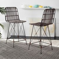 Safavieh Minerva Wicker Counter Stool in Brown