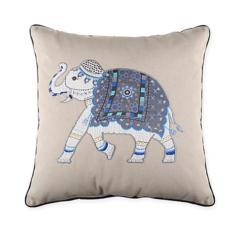 Molina elephant 18 inch x 18 inch throw pillow in indigo for 18x18 pillow insert bed bath and beyond