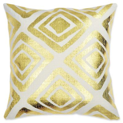 jessica metallic square throw pillow in gold - Gold Decorative Pillows