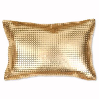 thro by mario lorenz evie metal mesh accent pillow in gold - Gold Decorative Pillows