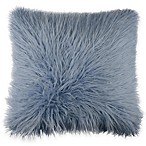 Flokati Faux Fur 18-Inch Square Throw Pillow in Ocean Blue