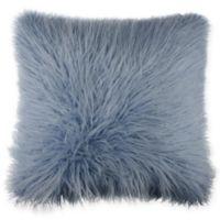 Mongolian Faux Fur Throw Pillow in Ocean Blue