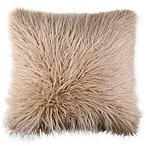 Flokati Faux Fur 18-Inch Square Throw Pillow in Tan