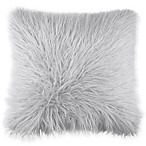 Flokati Faux Fur 18-Inch Square Throw Pillow in Light Blue
