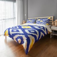 Designs Direct Classic Diamond Ikat King Duvet Cover in White/Blue/Yellow