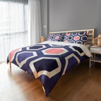 Geometric King Duvet Cover in Navy/Pink/White