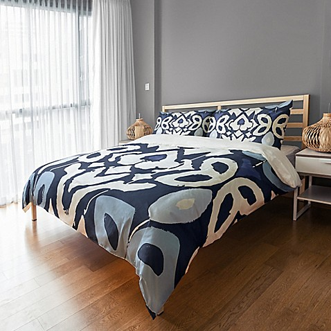 image of Floral Ikat Duvet Cover in Blue/White