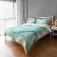Marble Watercolor Twin Duvet Cover in Blue/White