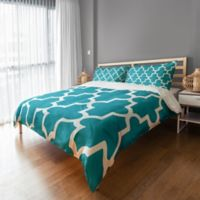Bold Quatrefoil King Duvet Cover in Teal/White