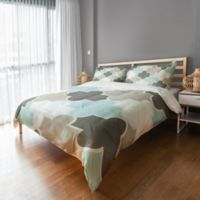 Serene Quatrefoil Twin Duvet Cover in Grey/Light Aqua