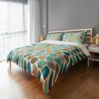 Petals Twin Duvet Cover in Blue/Teal/Gold