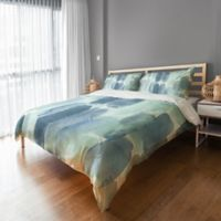 Watercolor Strokes Twin Duvet Cover in Blue/White
