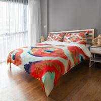 Abstract Ikat King Duvet Cover in Coral/White