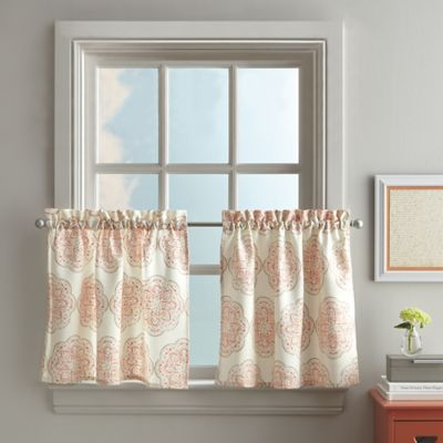 Charming Namaste 24 Inch Mini Kitchen Window Curtain Tier In Coral