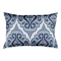 Classic Watercolor Ikat Pillow King Sham in Blue/White