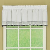 Today's Curtain Alpine 2-Tone Crochet Kitchen Window Valance in Black/White