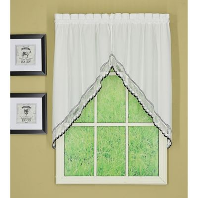 Todayu0027s Curtain Alpine 2 Tone Crochet Kitchen Window Swag Pair In  Black/White Part 81