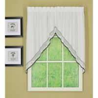 Today's Curtain Alpine 2-Tone Crochet Kitchen Window Swag Pair in Black/White
