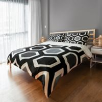 Geometric Duvet Cover in Grey/Black/White