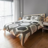Geometric Duvet Cover in Grey/White