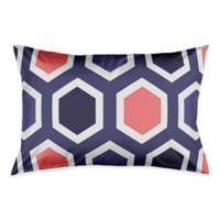Geometric Pillow Standard Sham in Navy/Pink/White