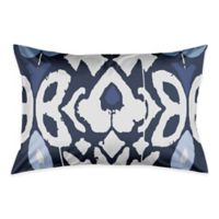 Floral Ikat Pillow King Pillow Sham in Blue/White