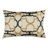 Interlocking Quatrefoil King Pillow Sham in Black/Gold