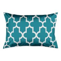 Bold Quatrefoil King Pillow Sham in Teal/White