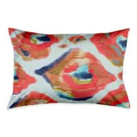 Abstract Ikat Standard Pillow Sham in Coral/White