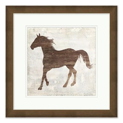 Galloping Horse 2 Wall Art With Brown Frame