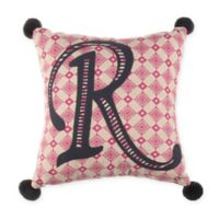 """Monogram Letter """"R"""" 11-Inch Square Throw Pillow in Pink"""