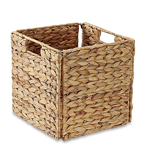 image of Real Simple® Woven Water Hyacinth Folding Storage Basket in Natural
