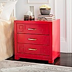 Safavieh 3-Drawer Raina Greek Key Nightstand in Red