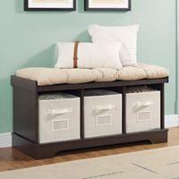 """Forest Gate 42"""" Contemporary Wood Storage Bench with Totes and Cushion in Espresso"""