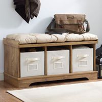 Walker Edison Storage Bench in Chestnut