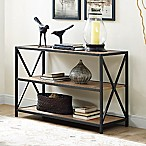 Forest Gate 40-Inch X-Frame Metal/Wood Media Bookcase in Chestnut