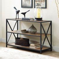 Walker Edison 40-Inch X-Frame Metal/Wood Media Bookshelf in Chestnut