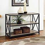 Forest Gate 40-Inch X-Frame Metal/Wood Media Bookcase in Driftwood