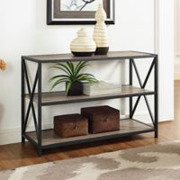 Walker Edison 40-Inch X-Frame Metal/Wood Media Bookshelf in Driftwood