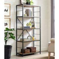 Walker Edison 60-Inch X-Frame Metal/Wood Media Bookshelf in Chestnut