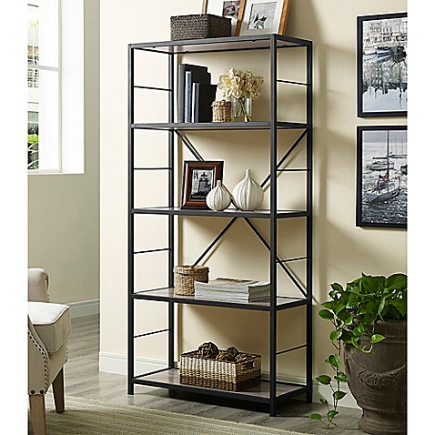 Walker Edison 60 Inch X Frame Metal Wood Media Bookcase In Driftwood Bed Bath Amp Beyond